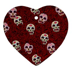 Funny Skull Rosebed Heart Ornament (two Sides)