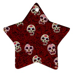 Funny Skull Rosebed Star Ornament (Two Sides)
