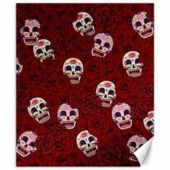 Funny Skull Rosebed Canvas 8  x 10
