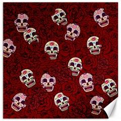 Funny Skull Rosebed Canvas 20  x 20
