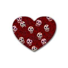 Funny Skull Rosebed Heart Coaster (4 pack)