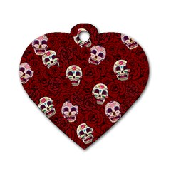 Funny Skull Rosebed Dog Tag Heart (one Side)