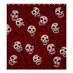 Funny Skull Rosebed Shower Curtain 66  x 72  (Large)