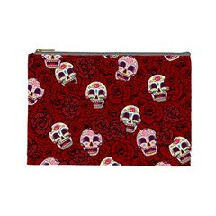 Funny Skull Rosebed Cosmetic Bag (large)