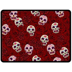 Funny Skull Rosebed Fleece Blanket (Large)