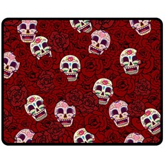 Funny Skull Rosebed Fleece Blanket (Medium)