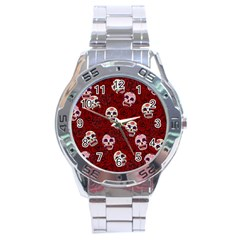 Funny Skull Rosebed Stainless Steel Analogue Watch