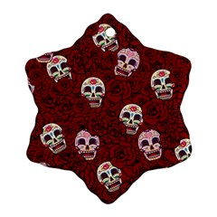 Funny Skull Rosebed Snowflake Ornament (Two Sides)