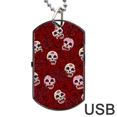 Funny Skull Rosebed Dog Tag USB Flash (One Side)