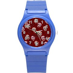 Funny Skull Rosebed Round Plastic Sport Watch (S)