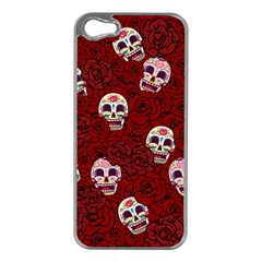 Funny Skull Rosebed Apple iPhone 5 Case (Silver)