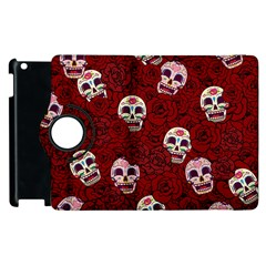 Funny Skull Rosebed Apple iPad 3/4 Flip 360 Case
