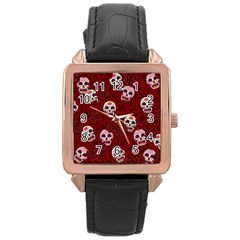 Funny Skull Rosebed Rose Gold Leather Watch