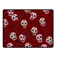 Funny Skull Rosebed Double Sided Fleece Blanket (Small)