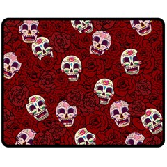 Funny Skull Rosebed Double Sided Fleece Blanket (Medium)