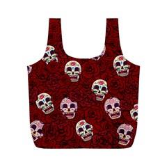 Funny Skull Rosebed Full Print Recycle Bags (M)