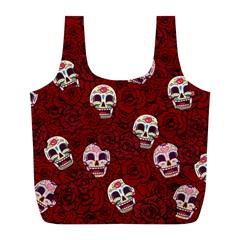 Funny Skull Rosebed Full Print Recycle Bags (L)