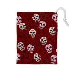 Funny Skull Rosebed Drawstring Pouches (Large)