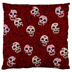 Funny Skull Rosebed Large Flano Cushion Case (One Side)
