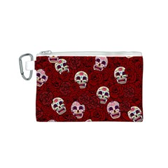 Funny Skull Rosebed Canvas Cosmetic Bag (S)