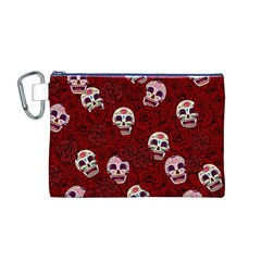 Funny Skull Rosebed Canvas Cosmetic Bag (M)