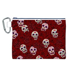 Funny Skull Rosebed Canvas Cosmetic Bag (L)