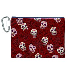 Funny Skull Rosebed Canvas Cosmetic Bag (XL)