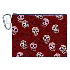 Funny Skull Rosebed Canvas Cosmetic Bag (XXL)