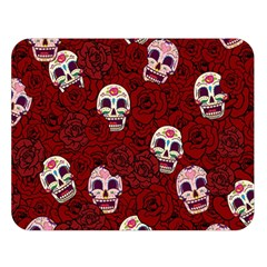 Funny Skull Rosebed Double Sided Flano Blanket (Large)