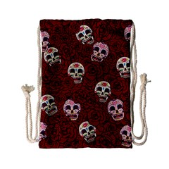 Funny Skull Rosebed Drawstring Bag (Small)