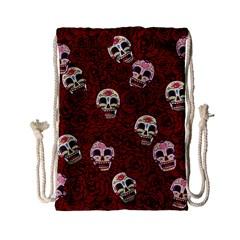 Funny Skull Rosebed Drawstring Bag (small)