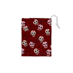 Funny Skull Rosebed Drawstring Pouches (XS)