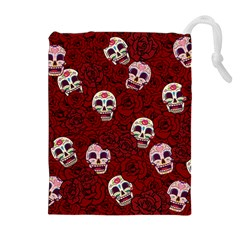 Funny Skull Rosebed Drawstring Pouches (Extra Large)