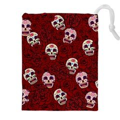 Funny Skull Rosebed Drawstring Pouches (XXL)