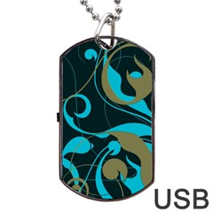 Floral pattern Dog Tag USB Flash (Two Sides)