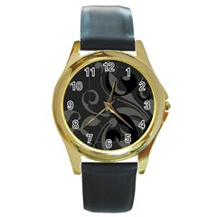 Floral pattern Round Gold Metal Watch
