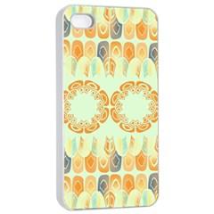 Ethnic Orange Pattern Apple iPhone 4/4s Seamless Case (White)