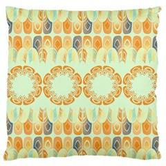 Ethnic Orange Pattern Large Flano Cushion Case (Two Sides)