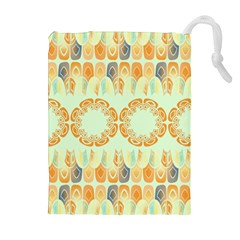 Ethnic Orange Pattern Drawstring Pouches (Extra Large)