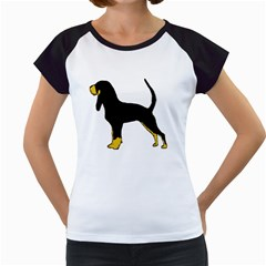 Black And Tan Coonhound Silo Color Women s Cap Sleeve T