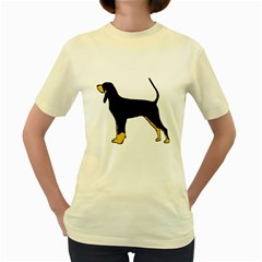 Black And Tan Coonhound Silo Color Women s Yellow T-Shirt