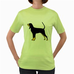 Black And Tan Coonhound Silo Color Women s Green T-Shirt