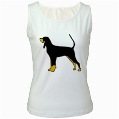 Black And Tan Coonhound Silo Color Women s White Tank Top