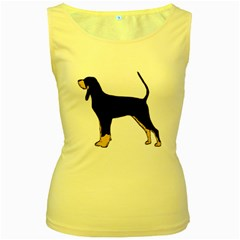 Black And Tan Coonhound Silo Color Women s Yellow Tank Top