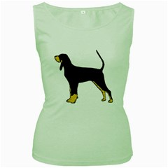 Black And Tan Coonhound Silo Color Women s Green Tank Top