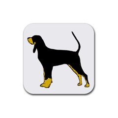 Black And Tan Coonhound Silo Color Rubber Coaster (Square)