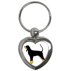 Black And Tan Coonhound Silo Color Key Chains (Heart)
