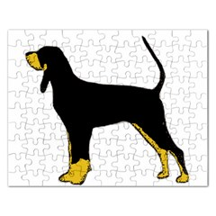 Black And Tan Coonhound Silo Color Rectangular Jigsaw Puzzl