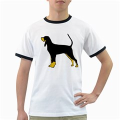 Black And Tan Coonhound Silo Color Ringer T-Shirts