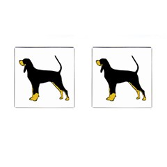 Black And Tan Coonhound Silo Color Cufflinks (Square)